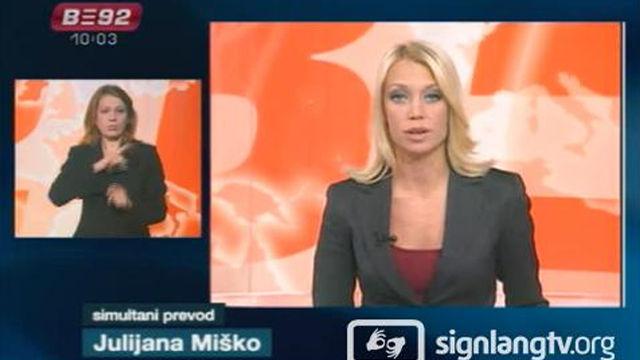 B92 Vesti za osobe sa ostecenim sluhom - Serbian Sign Language news